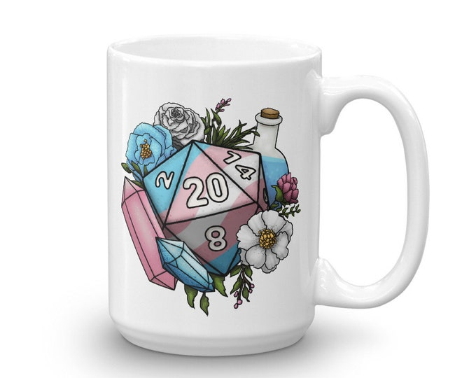 Pride Transgender D20 Mug - D&D Tabletop Gaming