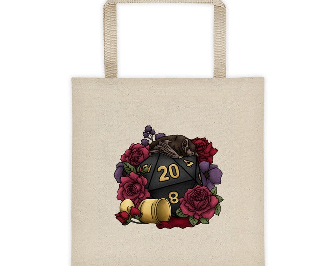 Vampire D20 Canvas Tote Bag - D&D Tabletop Gaming