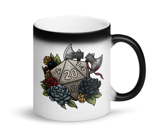 Barbarian D20 - Heat-Activated Matte Black Color Change Mug - D&D Tabletop Gaming