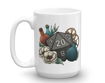 Artificer D20 - White Mug - D&D Tabletop Gaming