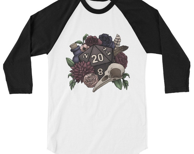 Necromancer D20 3/4 sleeve raglan shirt - D&D Tabletop Gaming