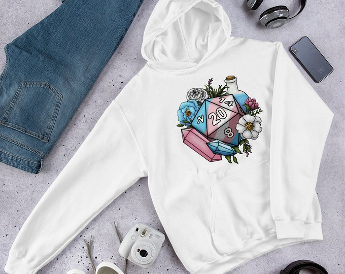 Pride Transgender D20 Hooded Sweatshirt - D&D Tabletop Gaming