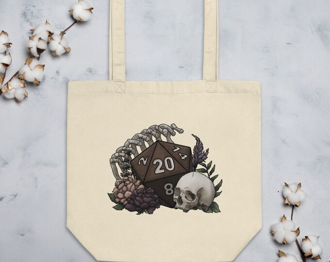 Skeleton D20 Tote Bag - D&D Tabletop Gaming
