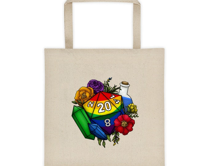 Pride Rainbow D20 Tote bag - D&D Tabletop Gaming