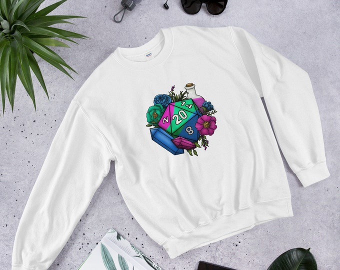 Polysexual Pride D20 Unisex Sweatshirt - D&D Tabletop Gaming