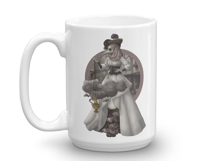 The Plague Doctor White Glossy Mug - D&D Tabletop Gaming - Blackfeather Boutique