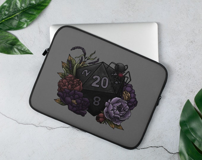 Drow D20 Laptop Sleeve - D&D Tabletop Gaming