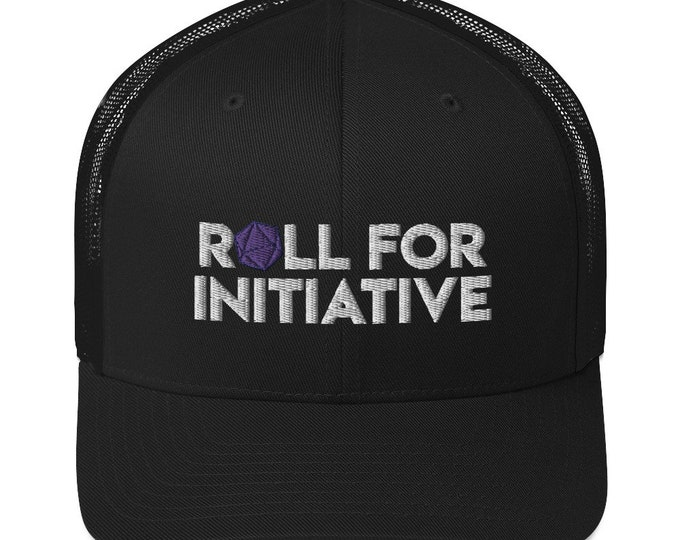 Roll for Initiative Embroidered Trucker Cap - D&D Tabletop Gaming