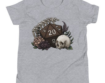 Skeleton D20 Youth Short Sleeve T-Shirt - D&D Tabletop Gaming