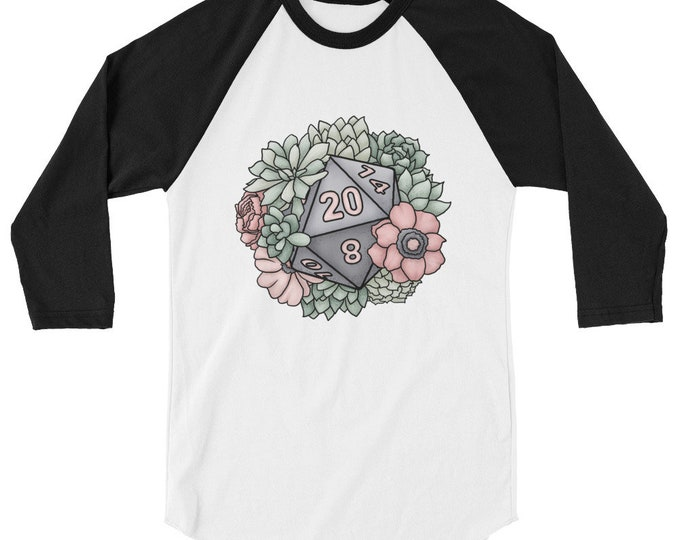 Succulent D20 3/4 sleeve raglan shirt - D&D Tabletop Gaming