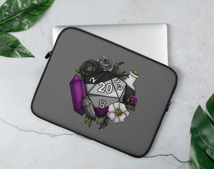 Asexual Pride D20 Laptop Sleeve - D&D Tabletop Gaming