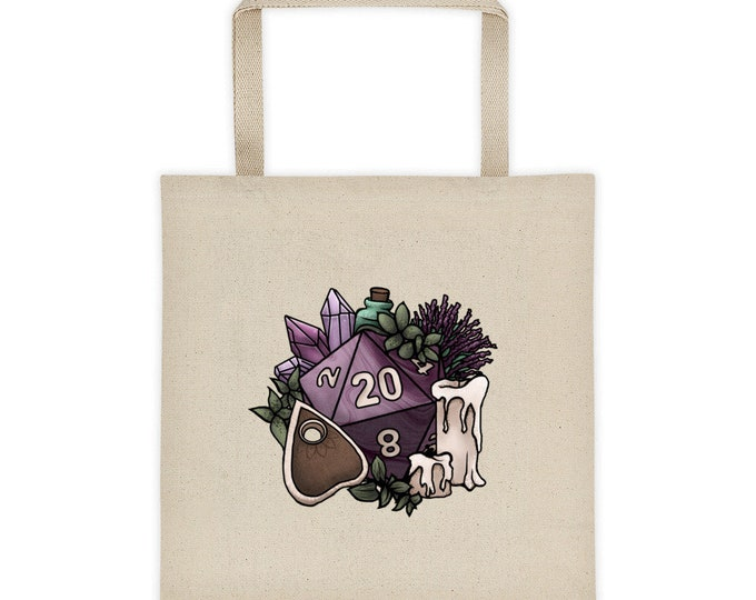 Witchy D20 Canvas Tote Bag - D&D Tabletop Gaming