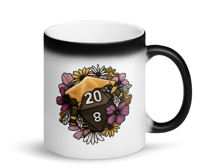 Honeycomb D20 - Heat Activated Color Change Mug - D&D Tabletop Gaming