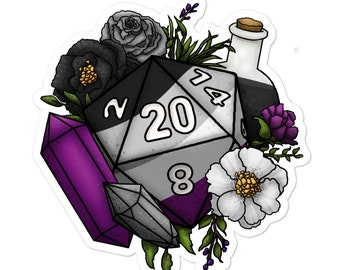 Asexual Pride D20 - Vinyl Sticker - D&D Tabletop Gaming