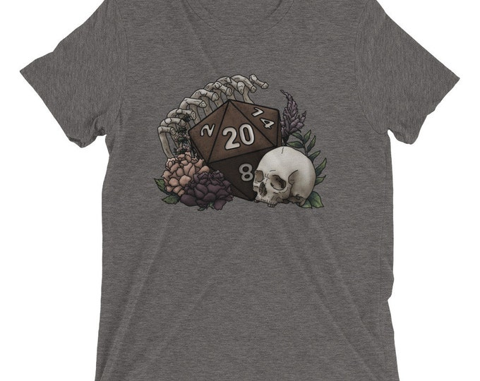 Skeleton D20 Triblend SUPER-SOFT short sleeve t-shirt - D&D Tabletop Gaming