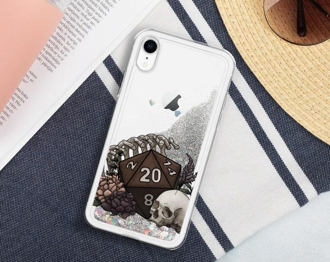 Skeleton D20 Liquid Glitter Phone Case - D&D Tabletop Gaming