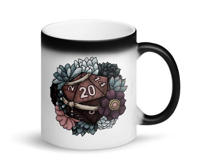 Monk D20 - Heat Activated Color Change Mug - D&D Tabletop Gaming