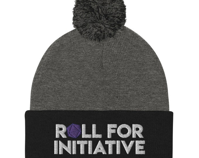 Roll for Initiative Embroidered Pom-Pom Beanie - D&D Tabletop Gaming