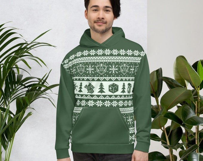 """Roll for Initiative Fair Isle Unisex Hoodie in """"Evergreen"""" - D&D Tabletop Gaming"""