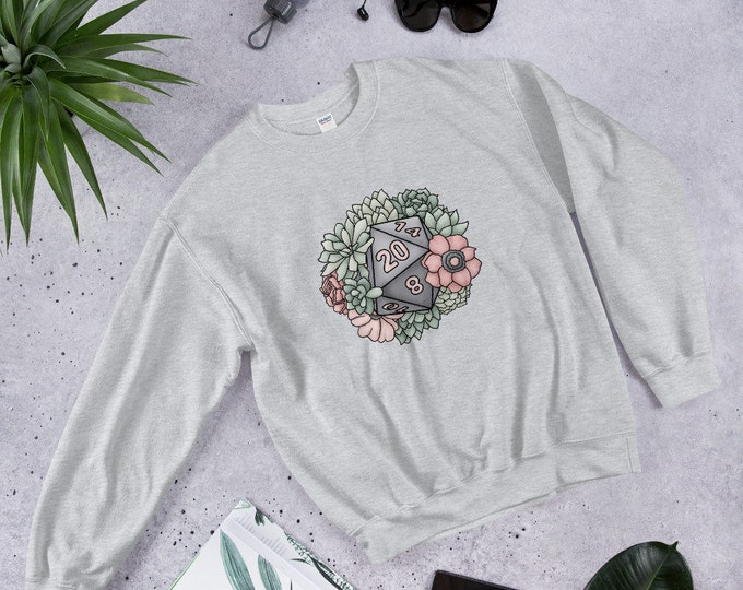 Succulent D20 Unisex Sweatshirt - D&D Tabletop Gaming