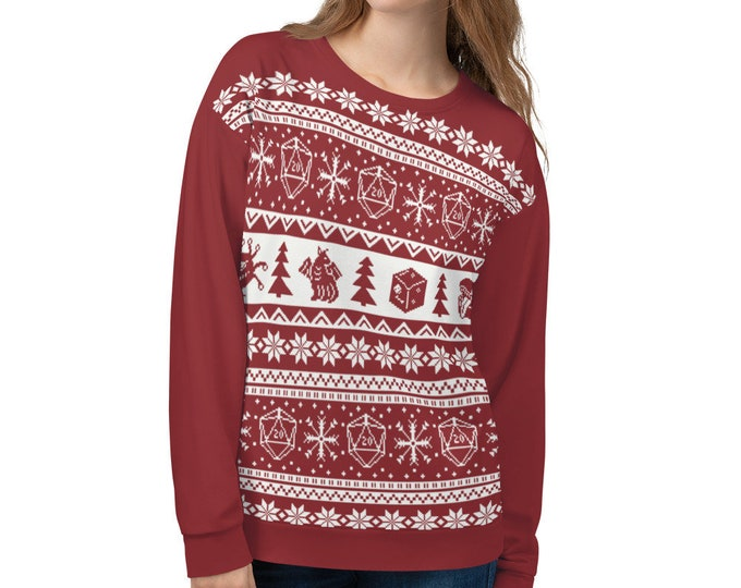 """Roll for Initiative Fair Isle Unisex Sweatshirt in """"Holly"""" - D&D Tabletop Gaming"""