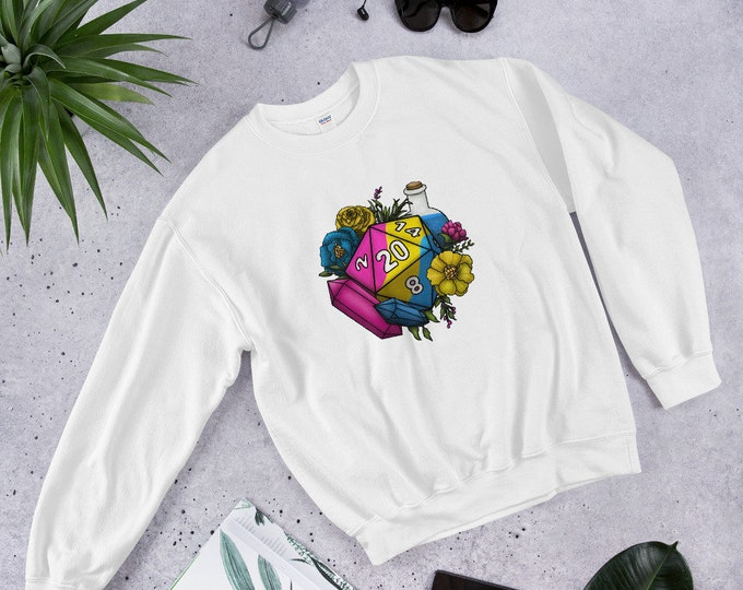Pansexual Pride D20 Unisex Sweatshirt - D&D Tabletop Gaming
