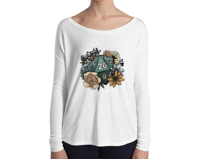 Cleric Class D20 Ladies' Long Sleeve Tee - D&D Tabletop Gaming