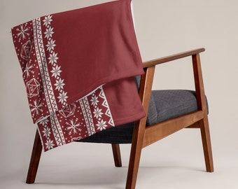 """Roll for Initiative Fair Isle Pattern Throw Blanket in """"Holly"""" - D&D Tabletop Gaming"""