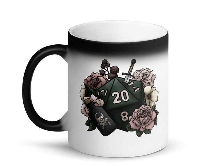 Rogue D20 - Heat Activated Color Change Mug - D&D Tabletop Gaming