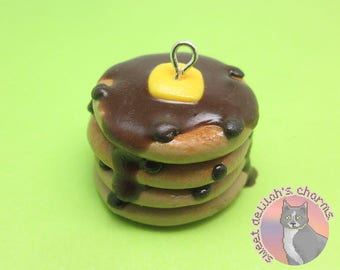 Chocolate Chip Pancakes Charm - Choose your attachment! polymer clay charms, jewelry, keychain, necklace, phone strap, dust plug, key ring