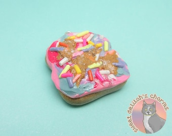 Unicorn Toast Charm - Choose your attachment! polymer clay charms, jewelry, keychain, necklace, phone strap, dust plug, key ring