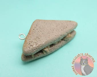 Tuna Fish Sandwich Half Charm - Choose your attachment! polymer clay charms, jewelry, keychain, necklace, phone strap, dust plug, key ring