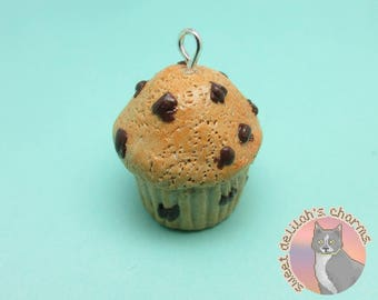 Chocolate Chip Muffin Charm - Choose your attachment! polymer clay charms, jewelry, keychain, necklace, phone strap, dust plug, key ring