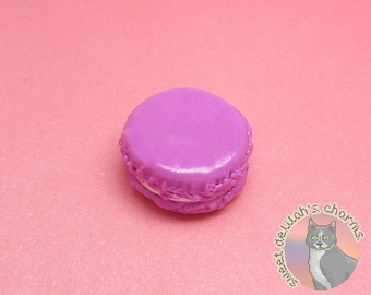 Magenta Macaron Charm - Choose your attachment! polymer clay charms, jewelry, keychain, necklace, phone strap, dust plug, key ring
