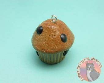 Blueberry Muffin Charm - Choose your attachment! polymer clay charms, jewelry, keychain, necklace, phone strap, dust plug, key ring