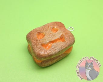 Haunted Grilled Cheese Charm - Choose your attachment! polymer clay charms, jewelry, keychain, necklace, phone strap, dust plug, key ring
