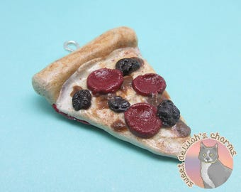 Three Meat Pizza Slice Charm - Choose your attachment! polymer clay charms, jewelry, keychain, necklace, phone strap, dust plug, key ring