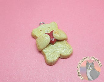 Teddy Bear Heart Cookie Charm - Choose your attachment! polymer clay charms, jewelry, keychain, necklace, phonestrap, dust plug, key ring