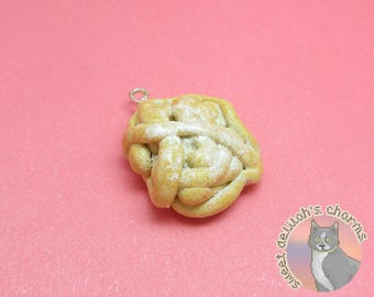 Powdered Funnel Cake Charm - Choose your attachment! polymer clay charms, jewelry, keychain, necklace, phone strap, dust plug, key ring
