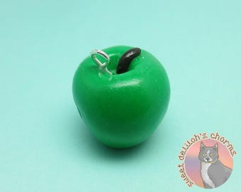 Dragonborn Green Apple Charm - Choose your attachment! polymer clay charms, jewelry, keychain, necklace, phone strap, dust plug, key ring