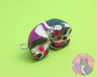 Arctic Swirl Bagel Charm - Choose your attachment! polymer clay charms, jewelry, keychain, necklace, phone strap, dust plug, key ring