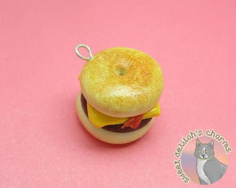 Donut Bacon Cheeseburger Charm - Choose your attachment! polymer clay charms, jewelry, keychain, necklace, phone strap, dust plug, key ring