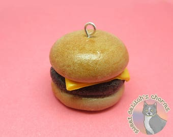 Cheeseburger Charm - Choose your attachment! polymer clay charms, jewelry, keychain, necklace, phone strap, dust plug, key ring