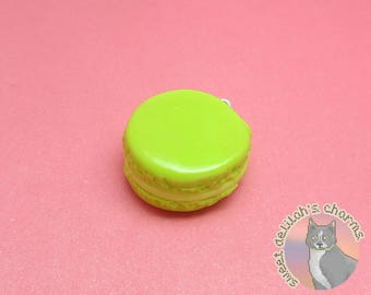 Lime Macaron Charm - Choose your attachment! polymer clay charms, jewelry, keychain, necklace, phone strap, dust plug, key ring