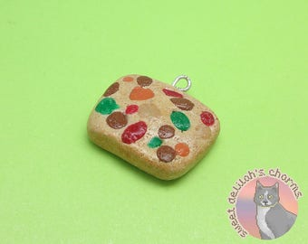 Fruit Cake Charm - Choose your attachment! polymer clay charms, jewelry, keychain, necklace, phone strap, dust plug, key ring