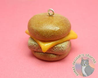 Fish Sandwich Charm - Choose your attachment! polymer clay charms, jewelry, keychain, necklace, phone strap, dust plug, key ring