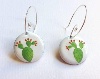 enamelled earrings with cactus drawings in bloom