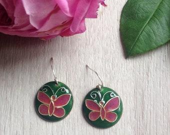 Enameled Earrings with butterflies