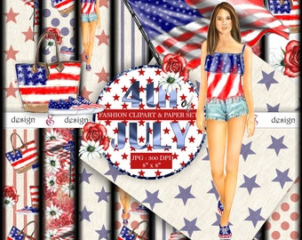 4th of JULY  Fashion Paper and Clipart Pack : Instant Download. Fashion Girl & elements. Stars and Stripes. American Flag. Graphics Clipart
