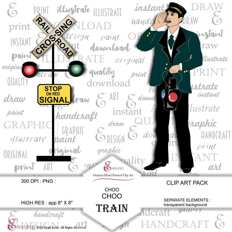 Railroad Cardstock. Mountains Train Rail Road Railway Clip Art Pack Conductor Hats Instant Download Track Train
